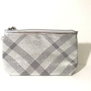 Burberry cosmetic bag pouch clutch NEW silver